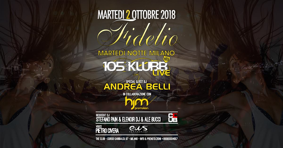 The Club Milano martedi 2 Ottobre 2018
